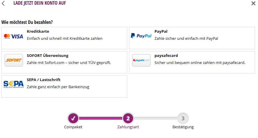 Bezahlmöglichkeiten um Coins zu kaufen, Paypal, Paysafecard, Sofort Überweisung, Lastschrift, Kreditkarte